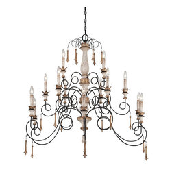 """Frontgate - Provence 15-light Chandelier - White patina finish complemented by gold-finished accents and white patina glass. Uses 60-watt max candelabra bulbs. 72"""" chain length. Adjustable height. Crown a soaring traditional or transitional space with the elegant yet airy drama of our Provence 15-Light Chandelier. Thin spirals of wrought iron stretch away from the French Country-style wood-grained column, handpainted with a Provencal blanc distressed white finish.  .  .  .  ."""