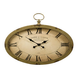 IMAX Imports - Sophie Oval Wall Clock - The Sophie oval wall clock features an antiqued sage green finish and looks great with a variety of decor.