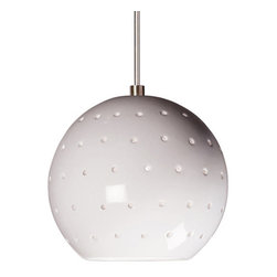 A19 - Lunar Mini Pendant - White Gloss - Without Canopy - Our Lunar mini pendant evokes the planets and stars. Its small spherical shape is supplemented by tiny circular holes, emitting an additional glow of light over the hand-glazed surface of the fixture. On its own, Lunar is perfect for a little accent light. Or group for more light in a row or multi-length collection.