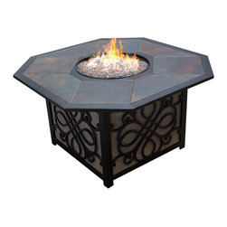 Agio - Agio Vista Alumicast Sling Gas Fire Pit Table With Porcelain Top - The Agio Vista Gas Fire Pit is a gorgeous addition to any living space without compromising your budget. The intricate side designs of this fire pit, coupled with its simple and stylish shape, makes the Agio Vista Gas Fire Pit blend seamlessly with any decor! This fire pit features our truly beautiful and elegant fire rocks; Rich Amber Porcelain Tiles with an Embossed Decorative Lining that is sure to not only strike up conversation, but accentuate your living space as well. The Agio Vista Gas Fire Pit produces up to 40,000 btu's.