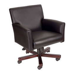 "BOSS Chair - Conference Room Box Armchair In Black w Adjus - This box arm chair has premium quality at the right price. Just a few highlights include durable yet soft Caressoft black upholstery, pneumatic seat height adjustment and mahogany wood finish on legs. The built-in lumbar support provides superior comfort and promotes a healthy posture. Mid-back box arm chair. Upholstered with our ultra soft and durable Caressoft upholstery. Upright locking position. Pneumatic gas lift seat height adjustment. Adjustable tilt tension control. Mahogany wood finish on 27"" base. Adjustable tilt tension control. Hooded double wheel casters. Cushion color: Black. Base/wood: Mahogany. Seat size: 19.5 in. W x 20 in. D. Seat height: 17.5 in. -21 in. H. Arm height: 24-27.5 in. H. Overall dimension: 27.5 in. W x 27.5 in. D x 34-37.5 in. H. Weight capacity: 250 lbs"