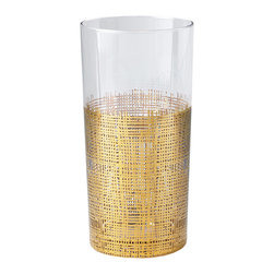 Kathy Kuo Home - Icicle Hollywood Regency Gold Crosshatch Tall Highball Glasses - Set of 4 - Classic tall highball glasses get a modern update with delicate gold crosshatch details. The elegant glasses hold the perfect serving of your favorite drink. A set of four comes together with individual glasses available separately.