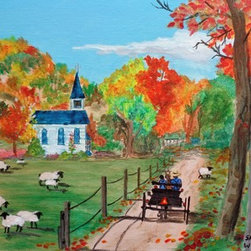 Amish Farm And Church (Original) by Sharon  Woods - It's beautiful fall day and the Amish are out driving to church. The minister raises sheep. Someone left the gate open and one of the sheep was lost. To bad it wasn't the black sheep of the family. The lost sheep was rescued and put back in the fold. All is well.