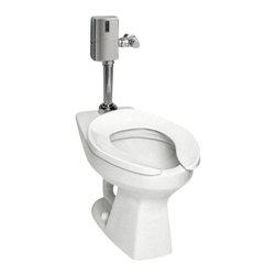 TOTO - Toto CT705EN#01 Floor Mount Het Flushometer Elongated Bowl, Cotton - TOTO CT705EN#01 Floor Mount Het Flushometer Elongated Bowl, Cotton
