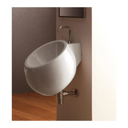 Scarabeo - Round White Ceramic Wall Mounted Sink, One Hole - Modern wall mounted round white ceramic sink. Single hole bathroom sink with overflow. Made in Italy by Scarabeo.