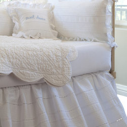 Taylor Linens - Elisa Egg-Shell White Crib Bed Skirt - Delicate rows of tiny pintucks make this bedskirt puff like a soft white cloud beneath your baby's crib. Pretty but not frilly, it's full of picturesque vintage cottage charm.