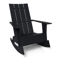 Loll Designs - 4 Slat Flat Standard Adirondack Rocker, Black - Now you can gently rock the day away in this updated Adirondack chair. Whether you're on a seaside porch or a backyard deck, nothing says carefree living like this chic rocker.