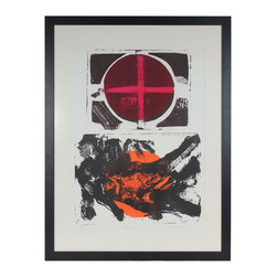Lost Art Salon - Descent, 1967 Gary Shaffer Original Stone Lithograph Framed - Own the work of master print-maker American artist Gary L. Shaffer (1936-2001). This dynamic stone lithograph lends excitement to your decor and marks an important addition to your art collection.
