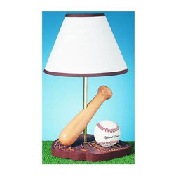 Cal Lighting - Kid's Baseball Lamp - Lamp, baseball and bat sit atop a catcher's mitt base.  All it takes is a 60-watt bulb (not included) to light up your child's life!  Your little slugger will see the light with this cute and sporty baseball lamp.  White shade with trim accentuates this sporty table topper.  This way-cool Baseball Theme Children's Lamp will be a hit with your sports-minded child. * Color: As shown . 60 Watt (bulb(s) not included). Height: 15 inAll of our lamps have been thoroughly inspected and meet the highest UL (Underwriting Laboratories safety standards.