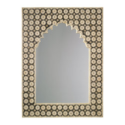 """Jamie Young - Jamie Young Taj Mirror - Inspired by the designer's travels to the Taj Mahal, this mirror by Jamie Young expresses worldly exoticism. Accented by an unusual curved edge, the patterned bone frame evokes a textured floral mystique that lends interiors an eclectic vibe. 36""""W x 1.5'D x 48""""H; Bone frame; Beige and black"""