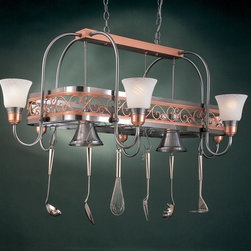 Hi-Lite MFG - Odysee 8-Lite Pot Rack in Satin Steel Finish w Copper Frame - Includes six pot rack hooks. Accessories and bulbs not included. Marble glass. UL listed. Eight 100W MED INC for lamps. Made from steel. 53 in. L x 33 in. W x 21 in. HHi-Lite achieved success through attention to detail and stubbornness to only manufacturer the highest quality product. Hi-Lite has built its reputation as a premier lighting manufacturer by using only the finest raw materials, inspirational designs, and unparalleled service. This allows us great flexibility with our designs as well as offering you the unique ability to have your custom designs brought to Light.