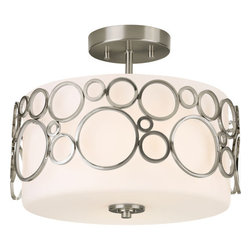Progress Lighting - Progress Lighting P3741-09 Semi-Flush Mount Ceiling Light Brushed Nickel - One light semi-flush ceiling fixtureFeaturing etched, antique marble glass shade1 medium base lamp, 100w max