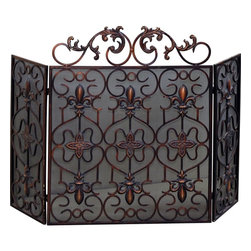 Yosemite Home Decor - Yosemite Home Decor Decorative Iron Screen X-72808-ZJVY - This translucent three-fold screen with a brown copper finish makes use of a fleur-de-lis and four-petal flower pattern. Soft curves are used throughout the length of the iron frame.