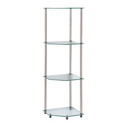 Convenience Concepts - Convenience Concepts Shelve X-500751 - Designs2Go&trade: Classic Glass 4 Tier Corner Shelf is the perfect complement to any living room d&#233:cor. Featuring an open modern design that provides 3 spacious glass shelves for decoration, collections or art objects. Surely will provide years of enjoyment