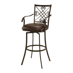 """Pastel Furniture - Pastel Savannah Swivel Barstool - Automn Rust Metal - Ford Brown - 26 Inch - The Savannah Barstool with arms has a simple yet elegant design that is perfect for any decor. An ideal way to add a classic flair to any dining or entertaining area in your home. This swivel barstool features a Quality steel frame with sturdy legs and foot rest finished in autumn rust. The padded seat is upholstered in ford brown offering comfort and style. Available in 26"""" counter or 30"""" bar height."""