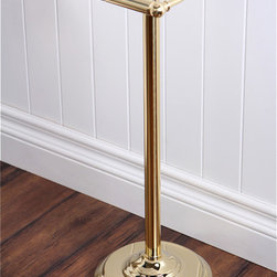 None - Pedestal Polished Brass Standing Toilet Paper Holder - Add a unique touch to your bathroom with this polished brass toilet paper holder by Pedestal. Its weighted base prevents tipping when in use and its durable finish will provide for years of beauty and protection against accelerated wear and tear.