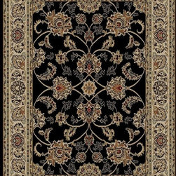 Ottomanson - Black Traditional Oriental Design Rug - Royal Collection offers a wide variety of machine made modern and oriental design area rugs with durable, stain-resistant pile in trendy colors.