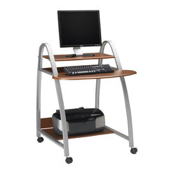 Mayline - Mayline Eastwinds Mobile Wood and Metal Computer Desk with Shelf and Arch Legs-A - Mayline - Computer Carts - 971ANT - Get streamlined organization in one hand y workstation! with 3 shelves, this mobile workstation has enough room for all of your computer accessories, while maintaining a sleek and minimal design. The available colors, Anthracite and Medium Cherry, are sure to fit in with any decor. This stylish, mobile workstation meets virtually any need. The Eastwinds collection is a collection of stylish, affordable workstations and storage units for today�s office environment. Work surfaces have seamless, contoured edges using vacuum-formed thermo foil technology. Heavy-duty steel frames are easy to assemble using threaded, metal-to-metal inserts to connect to surfaces. Metallic Gray powder-coated finish.