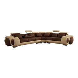 "VIG Furniture - Walden Sectional Sofa with Recliners - Its contemporary look will add style and comfort to any living room space. Features 2 adjustable footrests at the ends of the sectional for the ultimate relaxed feel. Also features a pull down back rest that has 1 cup holder and tray. Left Facing 3 Seater: W72"" x D41"" x H31"""