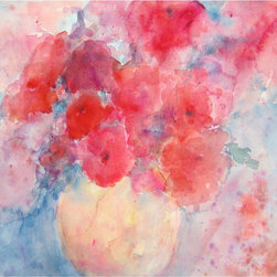 Vase of Vibrant Pink Blossoms Original Watercolor By ArtbySKS - If a shot of feminine pink is what your space needs, you've got it here. It's well priced too!
