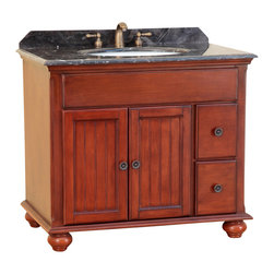 """Bosconi - 39"""" T-3743 Classic Single Vanity - Antique Red - This Bosconi Classic vanity has great elements of design, as well as two drawers in addition to the larger cabinet accessible via two swing doors for all storage needs. This model is a great mix of functionality and beauty, as its Antique Red finish across its solid structure will look great in any bathroom, complementing it with Dark Emperador marble and Antique Brass hardware."""