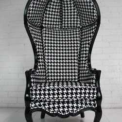 Houndstooth Balloon Chair - Balloon chairs are statement pieces no matter the upholstery. Add some classic yet bold houndstooth fabric, and they really demand attention. Wouldn't these be fabulous paired with some vibrant jewel tones?