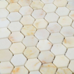 All Marble Tiles - Afyon Sugar Polished Marble Honey Comb 1 1/4 Mosaic - Afyon Sugar Polished Marble Honey Comb 1 1/4 Mosaic.
