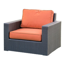 All Backyard Fun - Terrace Collection Wicker Club Chair Patio Furniture W/ Canvas Rust Cushions - The wicker club chair from the All Backyard Fun Terrace Collection comes in a stylish chocolate colored resin wicker finish hand woven over a heavy duty commercial grade, rust proof powder coated aluminum frame. It's large wide arm design and deep seating cushions make it a stylish and comfortable addition to any fire pit or patio furniture set. Outdoor Sunbrella cushions included.