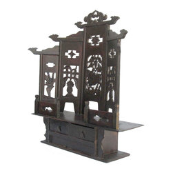 Golden Lotus - Chinese Antique Flower Bird Carving Mini Buddha Display Cabinet - Look at this Chinese antique min cabinet which is made of elm wood.  It was used for Buddha display.  Its back comes with curve shape carving design on it.  It should be elegant to put the top of altar table.