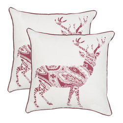 Safavieh - Decorative Paisley Reindeer Pillows in Red & White - Set Of 2 - A classic motif gets a candy cane-colored twist in the set of two Paisley Reindeer accent pillows in red and white. Crafted of fabric in a blend of cotton and linen, each reindeer is formed of a beautiful paisley created especially for the holidays.