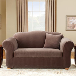 Sure Fit - Sure Fit Stretch Pinstripe Two Piece Loveseat Slipcover - 39070 - Shop for Chair and Slip Covers from Hayneedle.com! The 2-piece Stretch Separate Seat cover is a form fitting slip made from a soft poly/cotton and spandex material that features an elasticized base for a custom look. It is designed to minimize tucking fit to various sized arms and accommodate a separate seat either box or T-cushion.Please note this product does not ship to Pennsylvania.