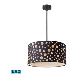 Elk Lighting - Landmark Lighting Enchantment 68001-1-LED 3-Light Pendant in Matte Black - LED - 68001-1-LED 3-Light Pendant in Matte Black - LED - 800 Lumens belongs to Enchantment Collection by Landmark Lighting Give Your Space An Edgy Ambiance With This Unique Pendant Collection.��_��__ Echoing Natural Patterns, These Die Stamped Hardback Fabric Shades Feature Random River Stone Shaped Or Organic Rosette Patterns That Are Offset By Matte Black Drum Shades. Hardware In Matte Black Finish. - LED, 800 Lumens (2400 Lumens Total) With Full Scale Dimming Range, 60 Watt (180 Watt Total)Equivalent , 120V Replaceable LED Bulb Included Pendant (1)