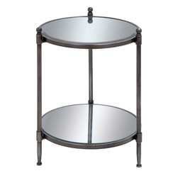 Benzara - Mirror Accent Table with Metal Framework - This metal mirror accent table is your answer to a sophisticated and stylish decor and utility accessory. Ideal for your living room corner or even your bedroom, this one is made of the finest quality metal to provide strength, durability and a long life. It also has the best of class mirror glass that makes it dazzle through the decor of your room. Resting on three sturdy legs, the mirror accent table offers a regal look and a bright visual appeal to the room. The table proves to be an appreciated addition in your office conference room and meeting room as well. With this accent table, you're sure to add to the elegance of your space.