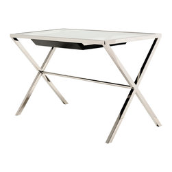 "Nuevo Living - Trevor Desk by Nuevo - HGTA601 - The Trevor desk by Nuevo features a 1/2"" clear tempered glass top that sits on top of a polished stainless steel frame.  The Trevor features a single drawer that is 23.25 x 18"".  The clearance beneath the drawer is 25""."