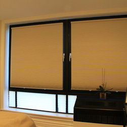 Fred In Downtown Brooklyn Solar Shades and Honeycomb - In the master bedroom he selected Whipped Cream 3262 grand cell blackout with cordless lift.
