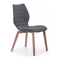 Hive Side Chair - Sleek, body-hugging graphite upholstery gets a cool, curvy silhouette on this chic side chair. Set up a pair with a coordinating warm, walnut-toned table for an exciting, contemporary dining space.