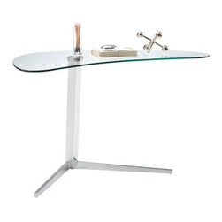"""Sunpan Modern - Campaign Writing Desk - Features: -Material: Glass.-Uniquely designed compact desk is perfect for small spaces and greeting areas.-Frame finish: Chrome.-Top Finish: Tempered Clear Glass.-Base Finish: Polished chrome.-Powder Coated Finish: No.-Gloss Finish: No.-UV Finish: No.-Top Material: Glass.-Base Material: Metal.-Number of Items Included: 1.-Non-Toxic: Yes.-Water Resistant: No.-Stain Resistant: No.-Heat Resistant: No.-Style: Contemporary.-Distressed: No.-Eco-Friendly: No.-Cable Management: No.-Keyboard Tray: No.-Height Adjustable: No.-Drawers Included: No.-Pencil Drawer: No.-Jewelry Tray: No.-Exterior Shelving: No.-Cabinets Included: No.-Handedness: Both.-Scratch Resistant: No.-Chair Included: No.-Legs Included: Yes -Leg Material: Metal.-Leg Glides: No..-Casters Included: No.-Hutch Included: No.-Treadmill Included: No.-Cork Back Panel: No.-Modesty Panel: No.-CPU Storage: No.-Built In Outlet: No.-Built In Surge Protector: No.-Light Included: No.-Modular: No.-Lifestage: Teen; Adult.-Commercial Use: Yes.-Product Care: Wipe clean.-Swatch Available: No.-Recycled Content: No.Specifications: -FSC Certified: No.-EPP Certified: No.-CARB Compliant: Yes.Dimensions: -Overall Height - Top to Bottom: 29.-Overall Width - Side to Side: 46.-Overall Depth - Front to Back: 26.-Desk Return: No.-Credenza: No.-Bridge: No.-Cabinet: No.-Drawer: No.-Shelving: No.-Seat: No.-Desktop Height: 29"""".-Desktop Width - Side to Side: 46"""".-Desktop Depth - Front to Back: 26"""".-Knee Space Height: 28.5"""".-Knee Space Depth: 26"""".-Hutch: No.-Legs: Yes.-Overall Product Weight: 80 lbs.Assembly: -Additional Parts Required: No.Warranty: -Please note that this item carries the manufacturer's standard one year warranty from the date of purchase. ."""
