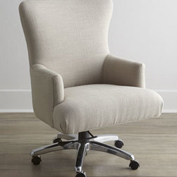 Horchow - Kirtley Office Chair - A shapely, contoured back highlights the sensational silhouette of this chair. Graceful flared arms and a crisp neutral fabric embellished by nailhead trim add to the chic elegance,letting it blend into both work and home decor. Frame made of hardwood...