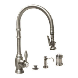 Waterstone - Waterstone Extended Reach Pulldown Kitchen Faucet with Soap Dispenser, Air Switc - Extended Reach Pulldown Kitchen Faucet with Soap Dispenser, Air Switch and Single Port Airgap