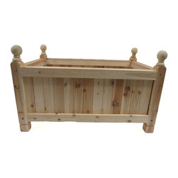 """Master Garden Products - Estate Cedar Wood Rectangle Planter, 36"""" - Our estate rectangular cedar wood planter is constructed with a combination of traditional mortise and tendon which locks the bolts and nuts together and anchors all eight corners of the planter in place - ideal for supporting heavy material.  Square dados are cut into the frames while the tongue and groove wall panels are inserted into the """"U"""" channel. All joints are glued and pressed to dry overnight. We use natural rot resistant northern white cedar wood to build our Estate line of wood planters."""