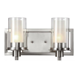 Joshua Marshal - Two Light Brushed Nickel Clear Outer Frosted Inner Glass Vanity - Two Light Brushed Nickel Clear Outer Frosted Inner Glass Vanity