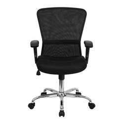 "Flash Furniture - Mid-Back Black Mesh Contemporary Computer Chair with Adjustable Arms and Chrome - This office chair has a curved back that is eye-catching paired with its chrome base. The breathable mesh back keeps you cool when sitting for long periods of time. Chair offers comfort and adjustable mechanisms at an affordable price.; Mid-Back Mesh Swivel Chair; Open Air Mesh Back; Mesh Upholstered Seat; Built-In Lumbar Support Band; Spring Tilt Control Mechanism; Tilt Tension Control; Pneumatic Seat Height Adjustment; Height Adjustable Nylon T-Arms; Chrome Finished Base; Dual Wheel Casters; Assembly Required: Yes; Country of Origin: China; Warranty: 2 Years; Weight: 33 lbs; Dimensions: 36.5 - 40""H x 24""W x 28""D"