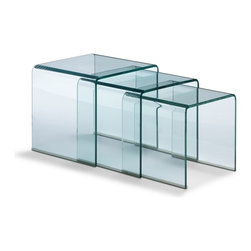 Zuo Modern - Zuo Explorer Nesting Tables Clear - Nesting Tables Clear belongs to Explorer Collection by Zuo Modern Simple in shape, and yet chic in overall aesthetic, the Explorer nesting tables are made of bent semi-tempered glass with rubber corner caps. Nesting Table (1)
