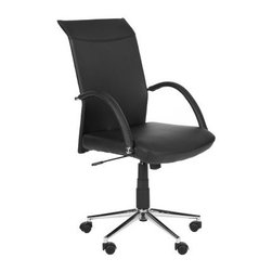 Safavieh Dejana Desk Chair - Black - Talk about some serious office perks - the Safavieh Dejana Desk Chair - Black has a sleek, modern design that's sure to make those productive work sessions extra-posh. After all, the angled arm rests and clean angles draw the eye, and it's oh so easy to get comfy thanks to the black synthetic leather upholstery and adjustable height. The metal base includes a high-shine finish, not to mention rubber wheels.About SafaviehSafavieh is a leading manufacturer and importer of fine rugs. Established in 1914 in the capital of Persian weaving masters, the company today brings three generations of knowledge and experience to its award-winning collections. In the United States since 1978, Safavieh has been a pioneer in the creation of high-quality hand-made rugs, a trend that revolutionized the rug business in America. Its collections range from the finest antique and historical reproductions to the most fashion-forward contemporary and designer rugs.