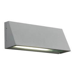"""PLC - Origo 11"""" Wide Silver Outdoor Wall Light - This handsome contemporary outdoor wall light is a simple design that is bursting with style. Silver finish metal creates the housing conceived in an overhanging triangle shape. A frosted glass diffuser soothes the light as it exits the fixture and bathes your home in chic illumination. This fixture is ADA compliant and UL listed for wet location installation. Metal outdoor wall light. Silver finish. Frosted glass diffuser. One 60 watt bulb (not included). 11"""" wide. 4 1/2"""" high. Extends 3 1/2"""". ADA compliant. UL listed for outdoor wet locations.  Metal outdoor wall light.   Silver finish.   Frosted glass diffuser.   One 60 watt bulb (not included).   11"""" wide.    4 1/2"""" high.  Extends 3 1/2"""".   ADA compliant.   UL listed for outdoor wet locations."""