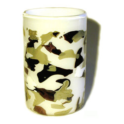 Esque - Camo Vase - No matter how you try, you can't hide your stylish self. This vase is handblown using white, brown and army green glass pieces arranged in a subtle camouflage pattern. Count off the ways you can use this unique art piece and protect your right to bear flowers.