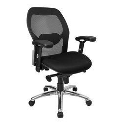 Flash Furniture - Flash Furniture Mid-Back Super Mesh Office Chair with Black Fabric Seat - Mesh office chairs can keep you more productive throughout your work day with its comfort and ventilated design. The breathable mesh material allows air to circulate to keep you cool while sitting. The mid-back design offers support to the mid-to-upper back region. From behind the desk to the meeting room this chair can provide a seamless addition to your work space. The waterfall front seat edge removes pressure from the lower legs and improves circulation. Chair easily swivels 360 degrees to get the maximum use of your workspace without strain. The pneumatic adjustment lever will allow you to easily adjust the seat to your desired height. The adjustable armrests are beneficial for adjusting to different body types. The slim profile of a mesh chair will have your office at the cutting edge.