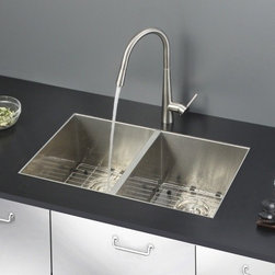 Ruvati - Ruvati RVC2333 Stainless Steel Kitchen Sink and Stainless Steel Faucet Set - Ruvati sink and faucet combos are designed with you in mind. We have packaged one of our premium 16 gauge stainless steel sinks with one of our luxury faucets to give you the perfect combination of form and function.