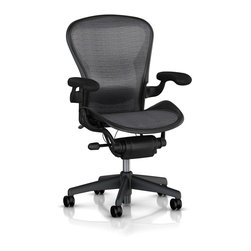 Herman Miller - Herman Miller Aeron Basic Graphite Chair - Basic with Standard Tilt and Stationary Arms. Begin with what a work chair ought to do for a person. The chair needs to be instructed by your body in what is comfortable, not the other way around. Add designers who are serious about function, wellness and the Herman Miller(R) ideals of sustainability: You have the Aeron(R). It is the icon we all recognize as the epitome of best design and most desirable work chair.