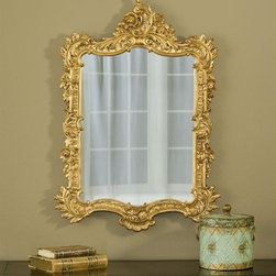 Hickory Manor House - Ornate English Mirror in Gold Leaf Finish - 100% Made In USA. Made of pecan shell resin. Hand Applied Finish. Hand Cast. 38 in. L x 27 in. W x 4 in. H  (20 lbs)For over 20 years, Hickory Manor House has produced unique classical mirrors. Our designs are inspired by elements of fine antiques from around the world. We expertly craft each item with quality materials and historical perspective, maintaining important character features that give each piece an authentic original appearance. We are proud that all of our products are produced in the USA. Made of pecan shell resin, allowing us to devote skillful attention to the design and to provide a wide array of beautiful hand-applied finishes.